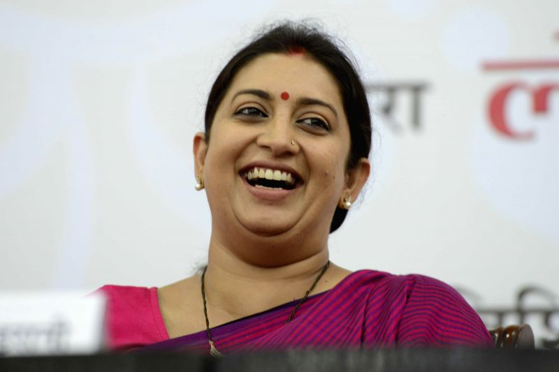 Union HRD Minister Smriti Z Irani at the book launch of Suryakant Bali's book `Mahabharat ka Dharam Sankat` in New Delhi on Sept 1, 2014. - Smriti Z Irani