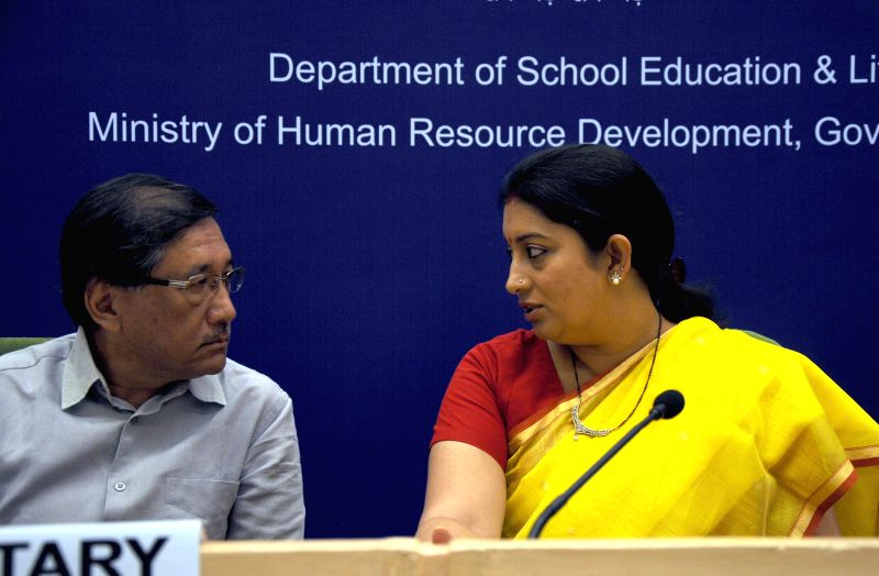 Union HRD Minister Smriti Z Irani during inauguration of the `Conference of State Education Secretaries` at Vigyan Bhawan in New Delhi on Aug 26, 2014. - Smriti Z Irani