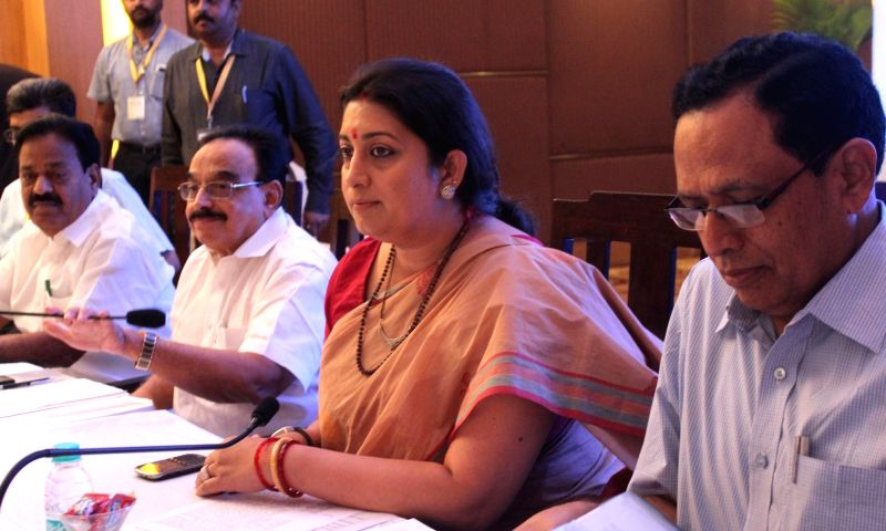Union Human Resource Development Minister Smriti Irani during a consultation meeting on New Education policy of Southern Zone State in Bengaluru on Oct 29, 2015.