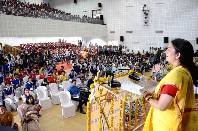 Union Human Resources Development Minister Smriti Irani during a programme in Bhopal on June 27, 2014.
