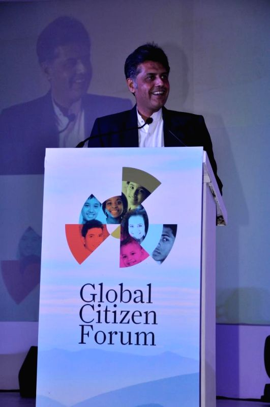 Union Information and Broadcasting Minister Manish Tewari addresses at the Global Conclave organised in New Delhi on Jan.3, 2014. - Manish Tewari
