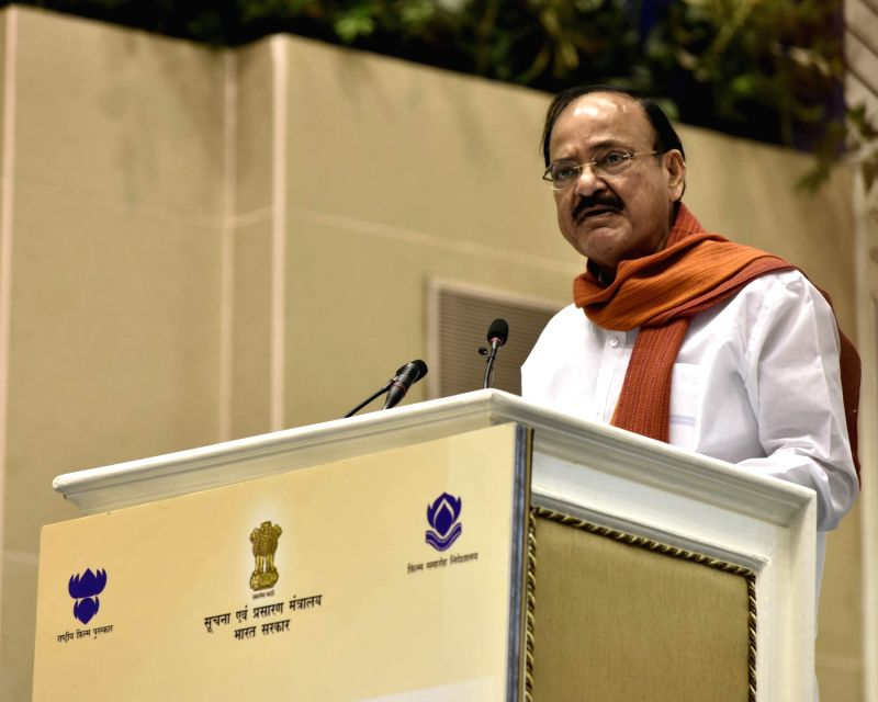 Union Information and Broadcasting Minister M. Venkaiah Naidu addresses at the 64th National Film Awards Function, in New Delhi on May 3, 2017. - M. Venkaiah Naidu