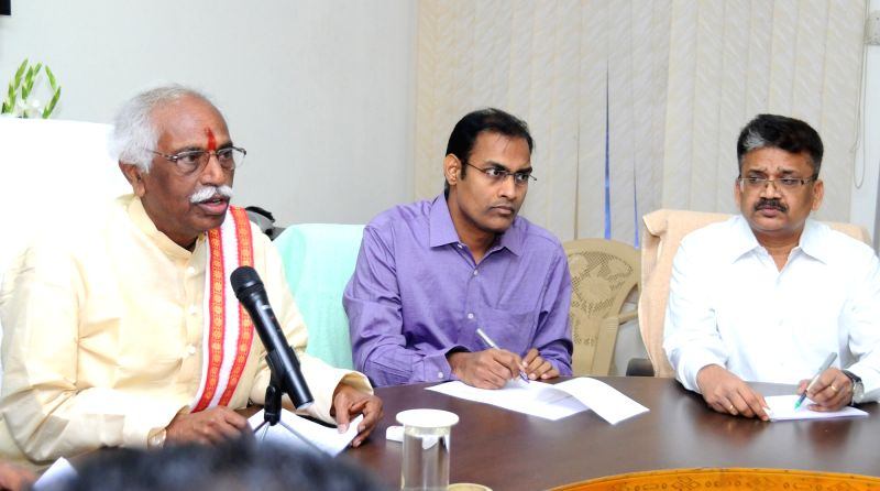 Union Labour Minister Bandaru Dattatreya addresses a press conference, in Hyderabad on April 23, 2017. - Bandaru Dattatreya