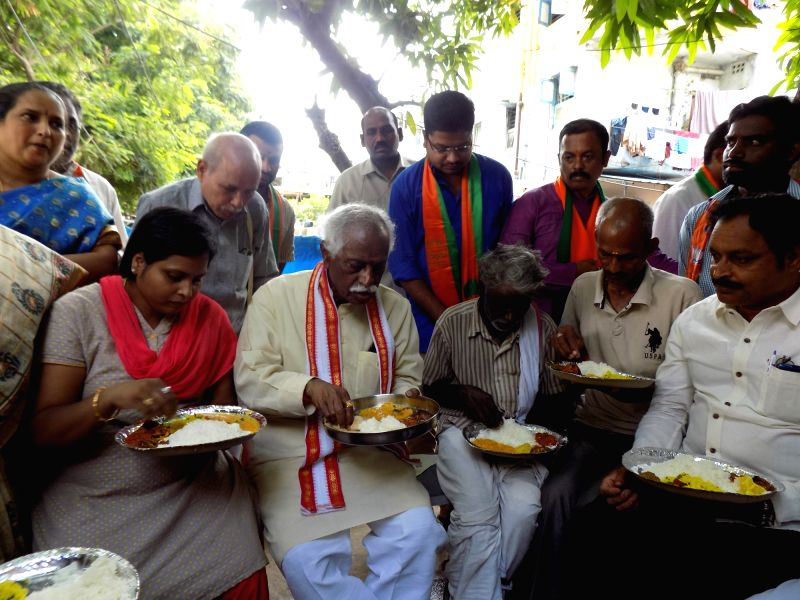 Union Labour Minister Bandaru Dattatreya haves lunch at SC Colony in Kukatpally, Medchal District of Telangana on June 8, 2017. - Bandaru Dattatreya