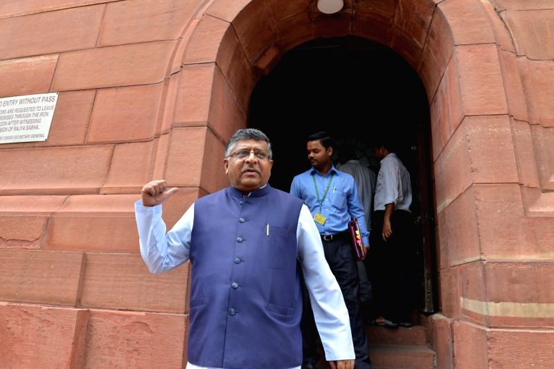 Union Law and IT Minister Ravi Shankar Prasad at Parliament, in New Delhi on Aug 10, 2018. - Ravi Shankar Prasad