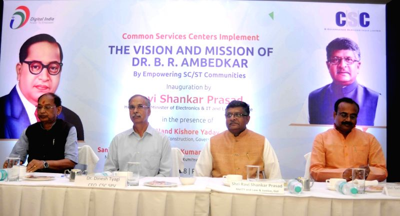 "Union Law and Justice and Electronics and Information Technology Minister Ravi Shankar Prasad during a programme on ""The Vision And Mission of Dr. B.R. Ambedkar"" organised on Dr. ... - Ravi Shankar Prasad"