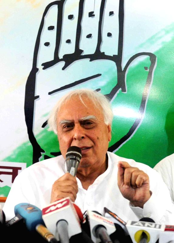 Union Law Minister and Congress leader Kapil Sibal during a press conference in Patna on May 2, 2014.