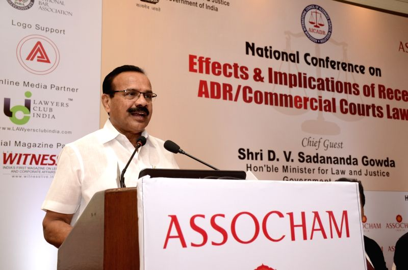"Union Law Minister DV Sadananda Gowda  addresses at ASSOCHAM national conference on ""Effects and Implications of Recent ADR/Commercial Courts Laws"" in New Delhi, on April 5, 2016. - D"