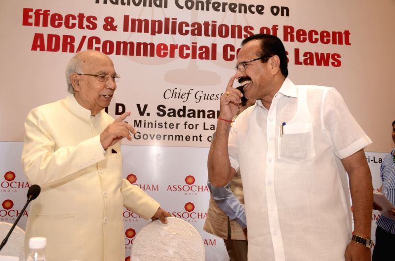 "Union Law Minister DV Sadananda Gowda and Former Karnataka Governor HR Bhardwaj during ASSOCHAM national conference on ""Effects and Implications of Recent ADR/Commercial Courts ... - D"