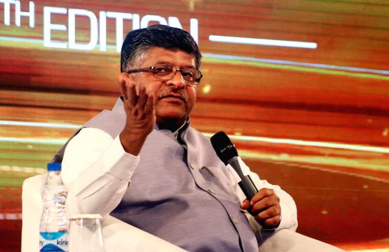 Union Law Minister Ravi Shankar Prasad addresses during Mindmine Summit 2017 in New Delhi, on April 21, 2017. - Ravi Shankar Prasad
