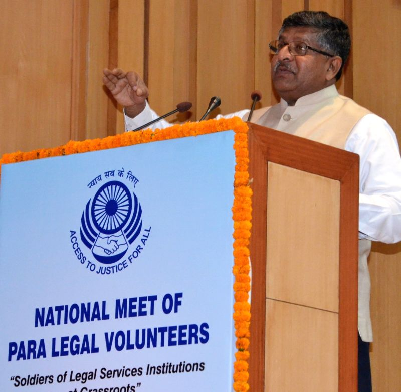 "Union Law Minister Ravi Shankar Prasad addresses during the National Meet of Para Legal Volunteers ""Soilders of Legal Services Institutions at Grassroots"" organised by National ... - Ravi Shankar Prasad"