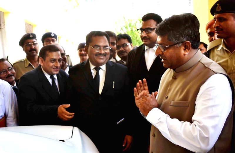 Union Law Minister Ravishankar Prasad after a meeting at Patna High Court on Aug 19, 2014.