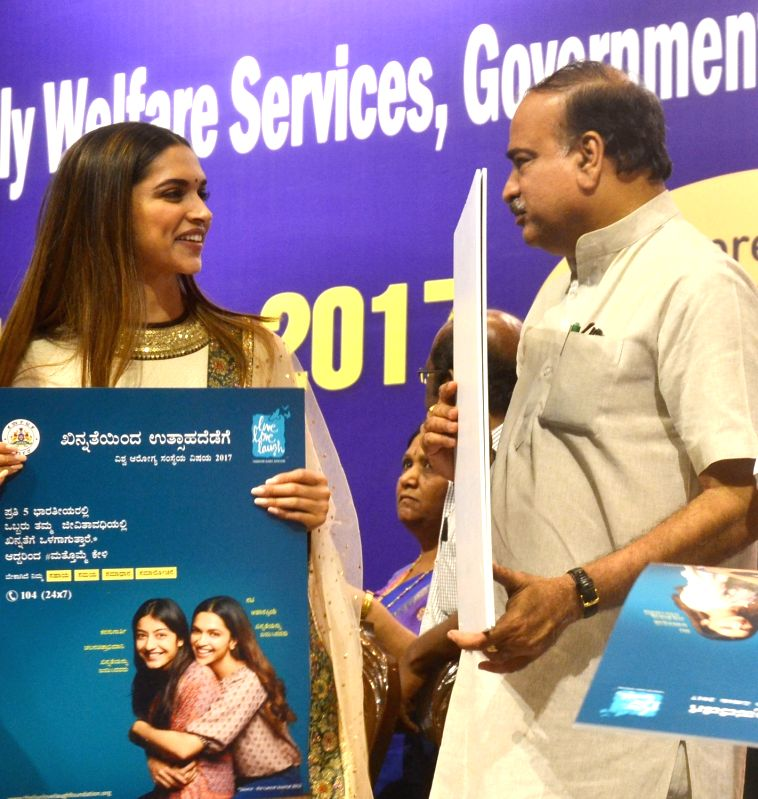 Deepika Padukone-Ananth Kumar during a World Health Day 2017  program - Ananth Kumar and Deepika Padukone