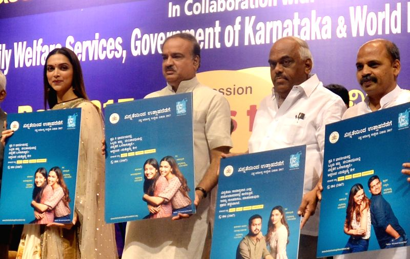 Union Minister Ananth Kumar with actress Deepika Padukone and others during a World Health Day 2017  program at NIMHANS convention centre in Bengaluru on April 8, 2017. - Ananth Kumar and Deepika Padukone
