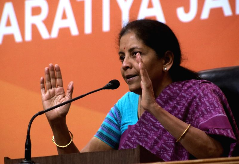 Union minister and BJP leader Nirmala Sitharaman addressing a press conference at BJP headquarter in New Delhi on June 12, 2017.