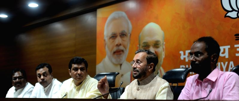 Union Minister and BJP leader Prakash Javadekar addresses a press conference at the party's headquarter, in New Delhi on July 16, 2018.