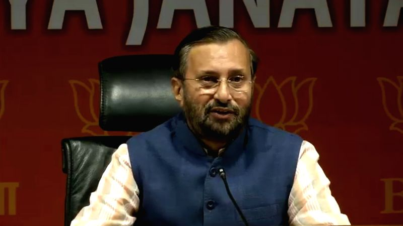 Union Minister and BJP leader Prakash Javadekar addresses a press conference, in New Delhi on Aug 1, 2018.