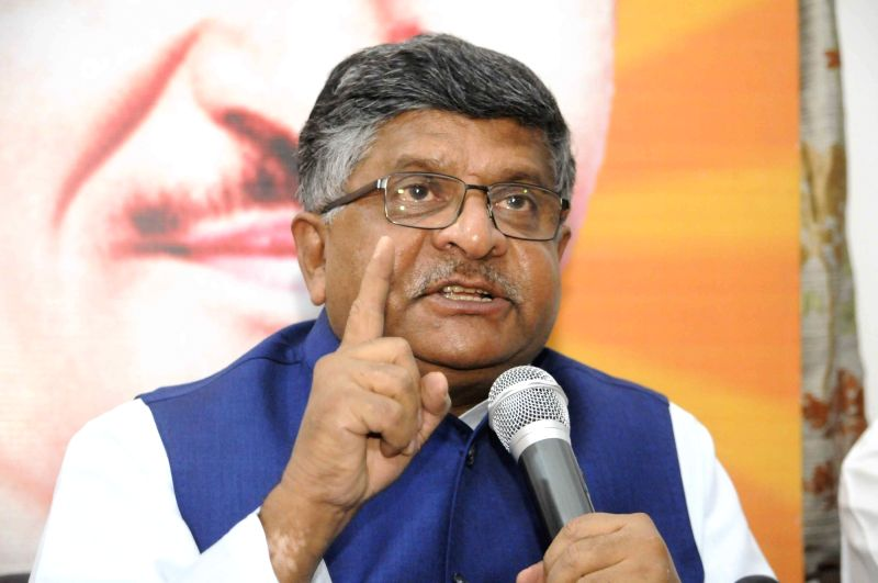 Union Minister and BJP leader Ravi Shankar Prasad addresses a press conference in Patna on April 13, 2018.