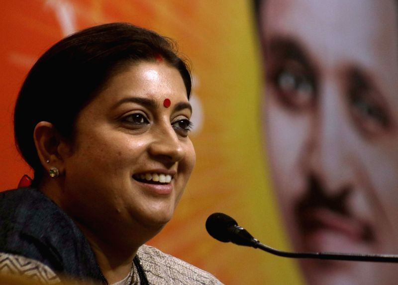Union Minister and BJP leader Smriti Irani addresses a press conference in New Delhi on April 24, 2017. (File Photo: IANS) - Smriti Irani