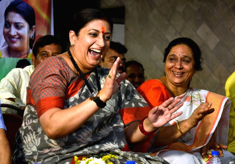 Union Minister and BJP leader Smriti Irani during a party meeting in Kolkata on April 19, 2017. - Smriti Irani