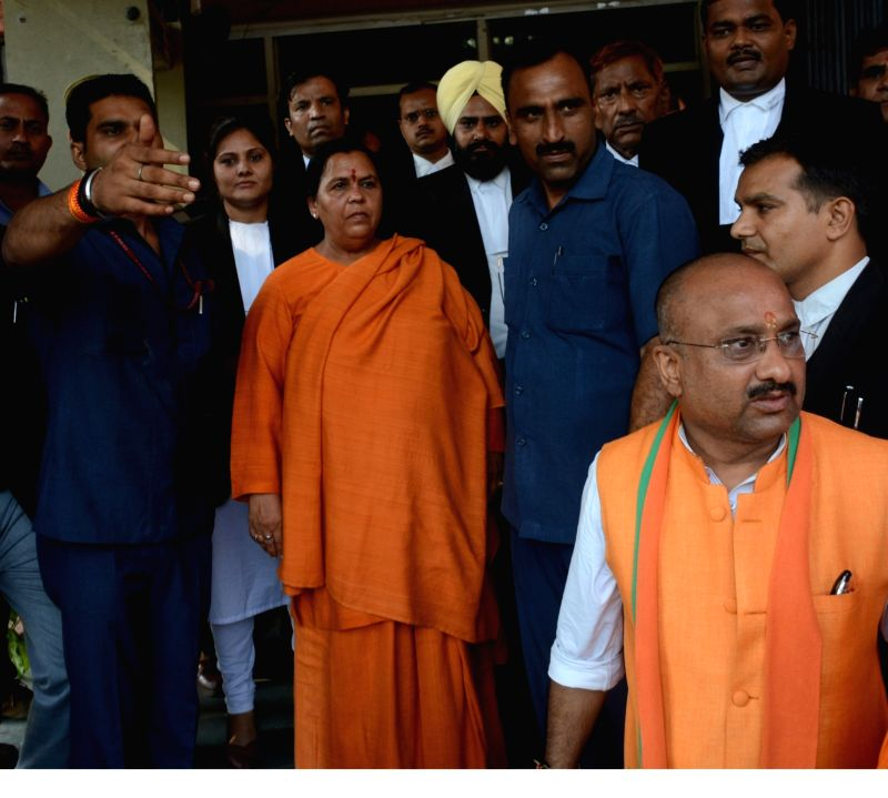 Union Minister and BJP leader Uma Bharti arrives to appear before a special CBI court in connection with the 1992 Babri Masjid case in Lucknow, on May 30, 2017.