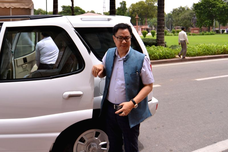 Union Minister and BJP MP Kiren Rijiju arrives at Parliament, in New Delhi on Aug 2, 2018.