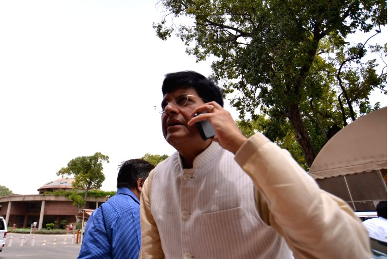 Union Minister and BJP MP Piyush Goyal arrives at Parliament, in New Delhi on Aug 2, 2018.