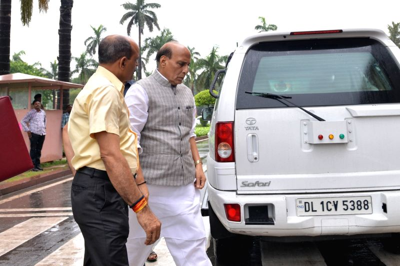 Union Minister and BJP MP Rajnath Singh arrives at Parliament, in New Delhi on July 26, 2018. - Rajnath Singh