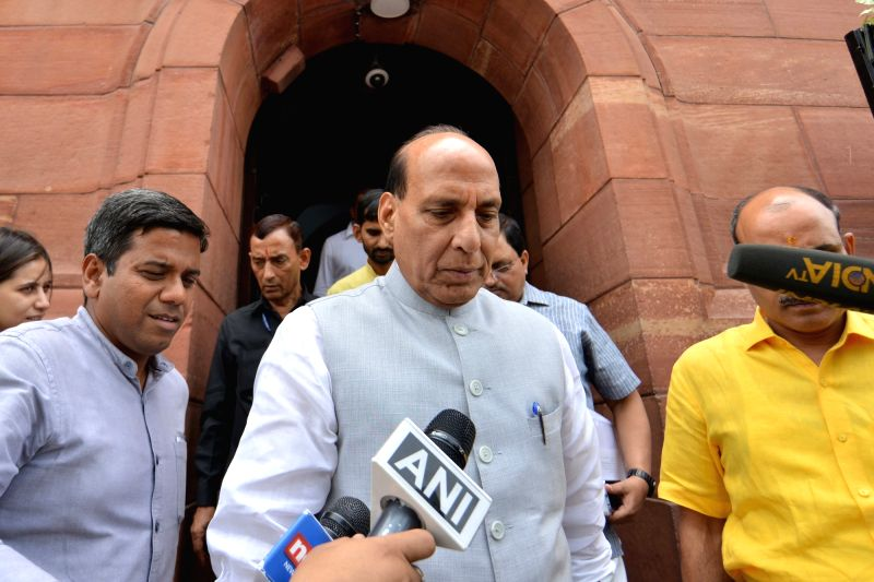Union Minister and BJP MP Rajnath Singh talks to the media at Parliament, in New Delhi on Aug 2, 2018. - Rajnath Singh