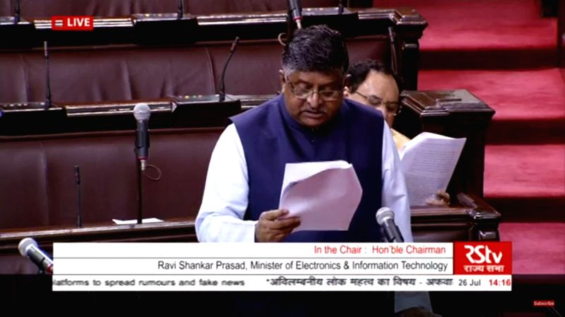 Union Minister and BJP MP Ravi Shankar Prasad speaks on the Government's action plan to tackle the misuse of social media platforms, at Rajya Sabha during the Monsoon session of ...