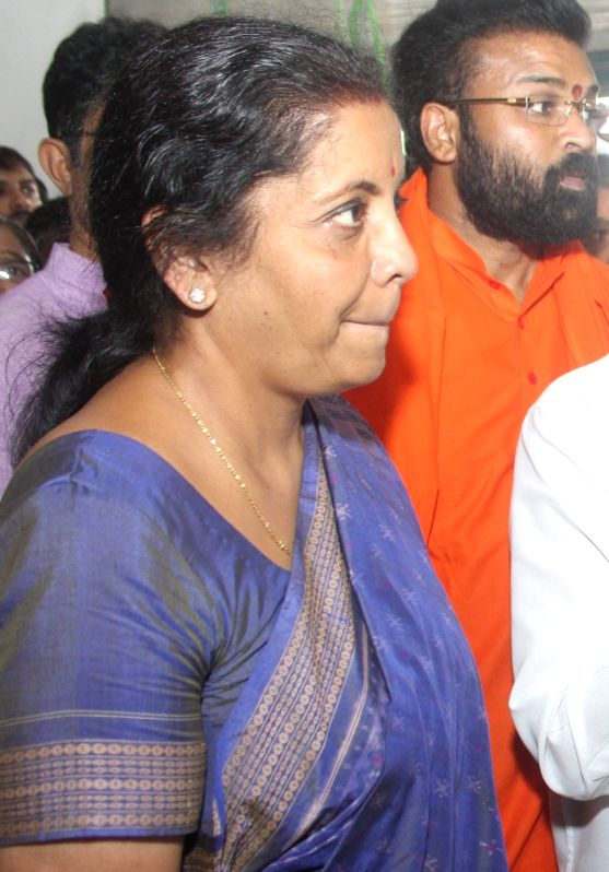 Union Minister and BLP leader Nirmala Sitharaman files her nomination papers for elections to Rajya Sabha at Karnataka Assembly in Bengaluru, on May 31, 2016. Also seen Union Minister ... - Ananth Kumar