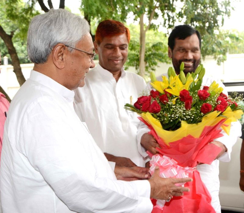 Union Minister and LJP Chief Ram Vilas Paswan meets Bihar Chief Minister Nitish Kumar, in Patna on Aug 12, 2018. - Nitish Kumar