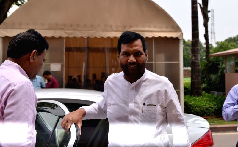 Union Minister and LJP MP Ram Vilas Paswan arrives at Parliament, in New Delhi on July 30, 2018.