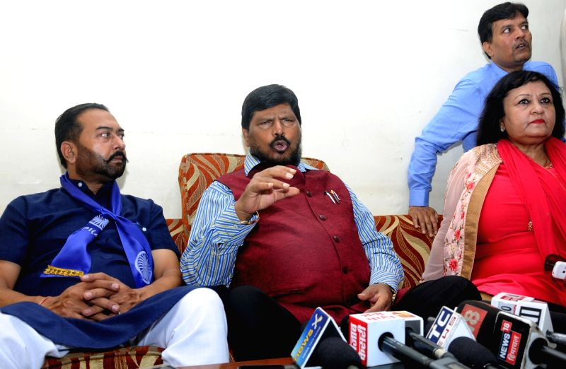 Union Minister and RPI (A) chief Ramdas Athawale during a press conference in Amritsar on Aug 4, 2018.