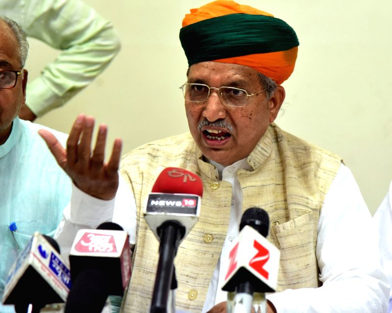 Union minister Arjun Ram Meghwal addresses a press conference in Bikaner on May 30, 2017. - Arjun Ram Meghwal