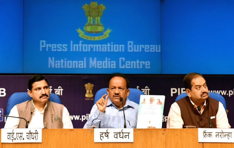 Union Minister Dr. Harsh Vardhan addresses a press conference on the achievements of the Ministry during 3 years of NDA Government, in New Delhi on May 23, 2017. - D