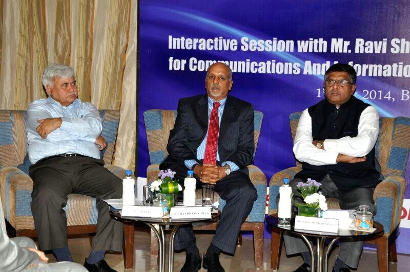 Union Minister foe Communications and Information Technology, and Law and Justice, Ravi Shankar Prasad during an interactive session organised by National Association of Software and Series Companies