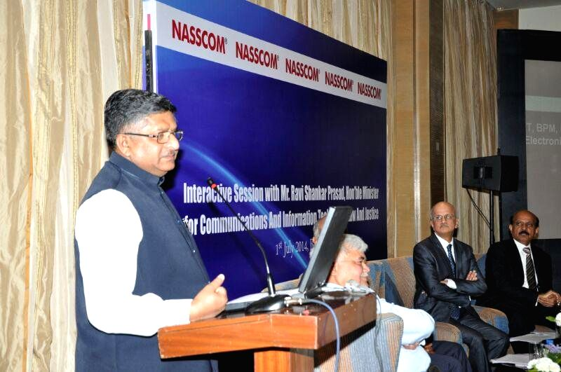 Union Minister foe Communications and Information Technology, and Law and Justice, Ravi Shankar Prasad addresses during an interactive session organised by National Association of Software and Series