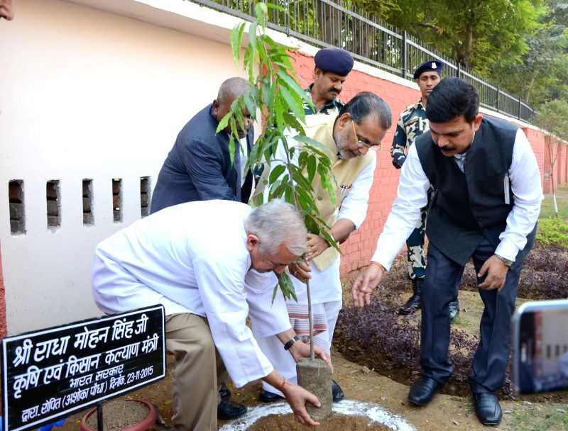 Union Minister for Agriculture and Farmers Welfare Radha Mohan Singh plants a sapling at the Directorate of Plant Protection, Quarantine and Storage, in Faridabad, Haryana on Nov 23, 2015.