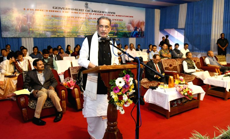 Union Minister for Agriculture and Farmers Welfare Radha Mohan Singh addresses at the launch of the Meghalaya Milk Mission in Shillong, Meghalaya on July 28, 2018.
