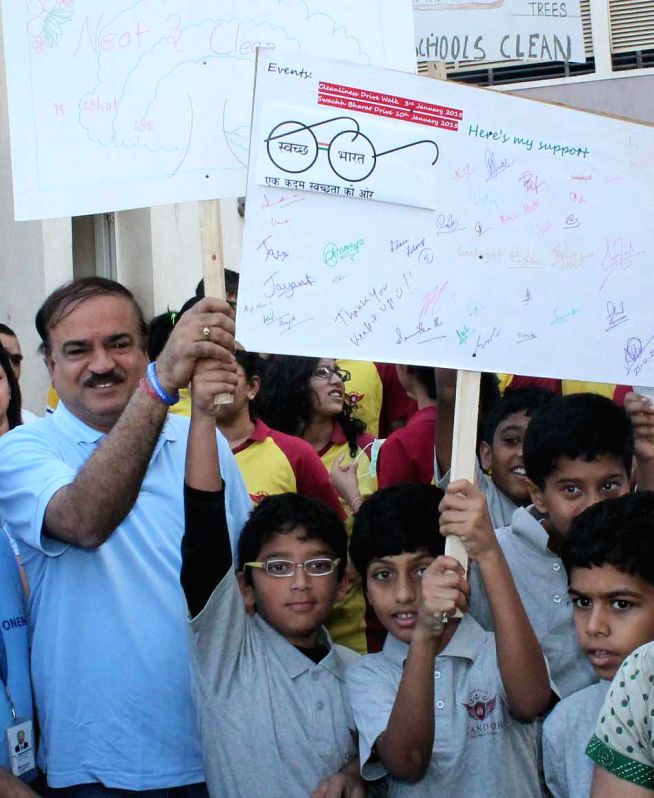 Union Minister for Chemicals and Fertilisers, Ananth Kumar participates in Clean India Campaign in Bengaluru, on Jan 10, 2015.