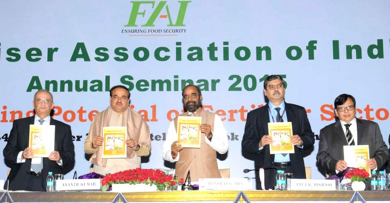 Union Minister for Chemicals and Fertilizers Ananth Kumar at the inauguration of the annual seminar of Fertilizer Association of India, in New Delhi on Dec 2, 2015. Also seen Union ... - Ananth Kumar