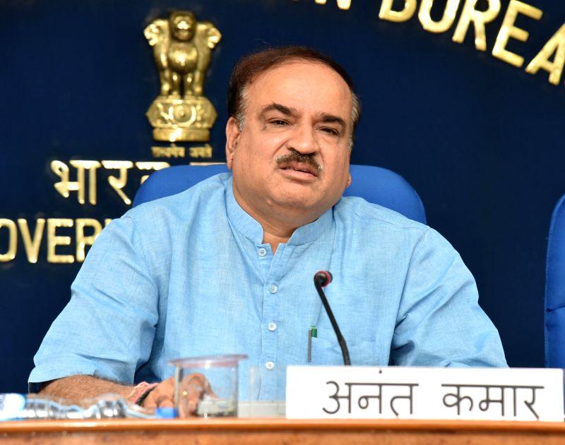 Union Minister for Chemicals & Fertilizers and Parliamentary Affairs Ananth Kumar addresses the media on the Pradhan Mantri Bhartiya Janaushadhi Pariyojana (PMBJP) in New Delhi on May ... - Affairs Ananth Kumar
