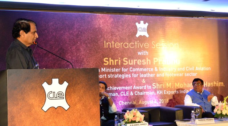 Union Minister for Commerce & Industry and Civil Aviation Suresh Prabhu addresses at an interactive session on Export Strategies for Leather and Footwear Sector in Chennai on Aug 4, 2018. - Suresh Prabhu