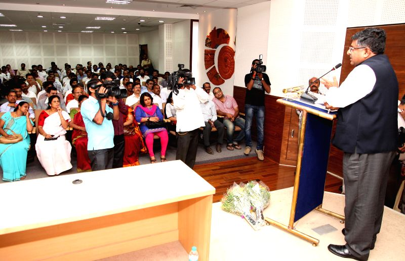 Union Minister for Communications and Information Technology, and Law and Justice, Ravi Shankar Prasad addresses during a BJP programme in Bangalore on July 1, 2014.