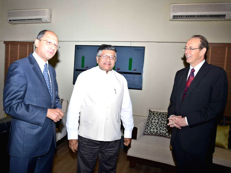 Union Minister for Communications and Information Technology, and Law and Justice, Ravi Shankar Prasad with Parliamentary Under-Secretary of State for Justice of United Kingdom Shailesh Vara and ...