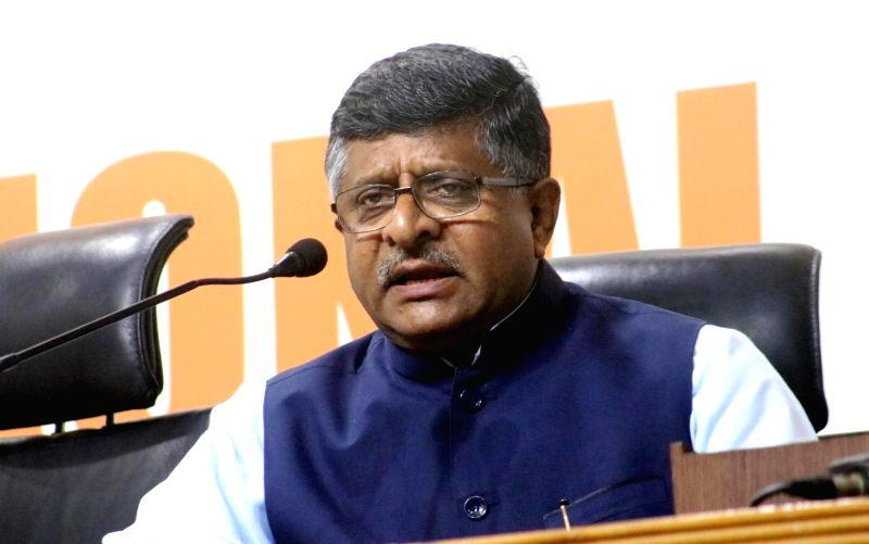 Union Minister for Communications and Information Technology Ravi Shankar Prasad addresses a press conference regarding violence in Kerala; in New Delhi, on May 21, 2016.