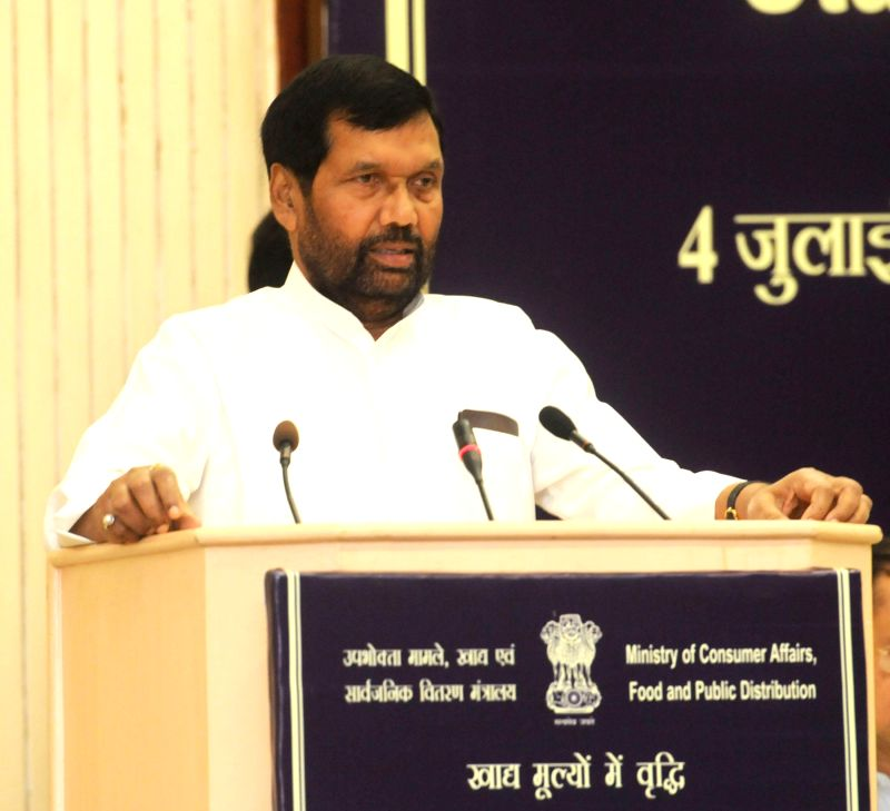 Union Minister for Consumer Affairs, Food and Public Distribution Ramvilas Paswan addresses during the State Food Ministers Conference in New Delhi on July 4, 2014.