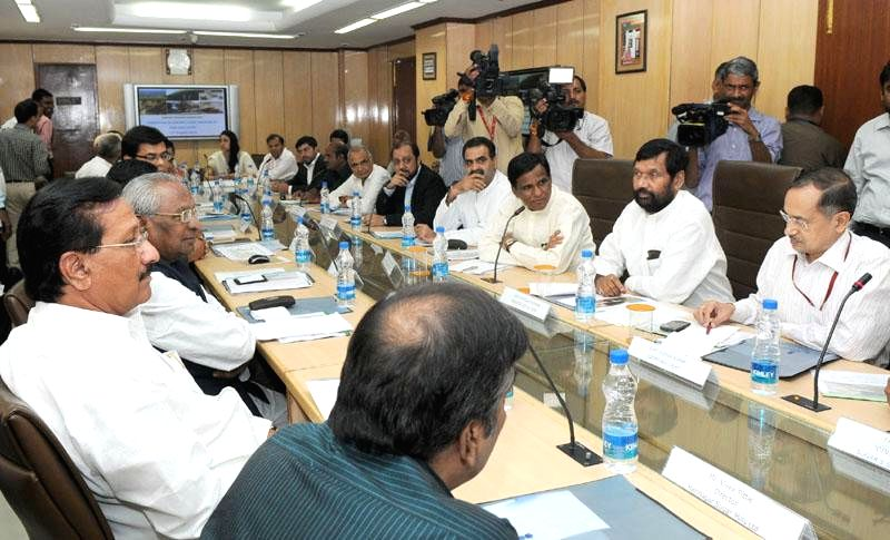Union Minister for Consumer Affairs, Food and Public Distribution, Ramvilas Paswan during a meeting of representatives of State Governments and sugar industries regarding issue of sugarcane arrears .. - Sanjeev Kumar Balyan and Shri Sudhir Kumar