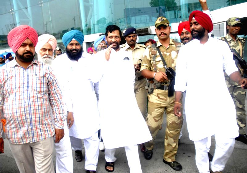 Union Minister for Consumer Affairs, Food and Public Distribution Ram Vilas Paswan arrives at Sri Guru Ram Das Jee International Airport in Amritsar on Aug. 6, 2016.